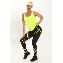 comprar bien calidad de marca recogido Mallas Fitness Mujer PITILLO Negro/Fox Amarillo